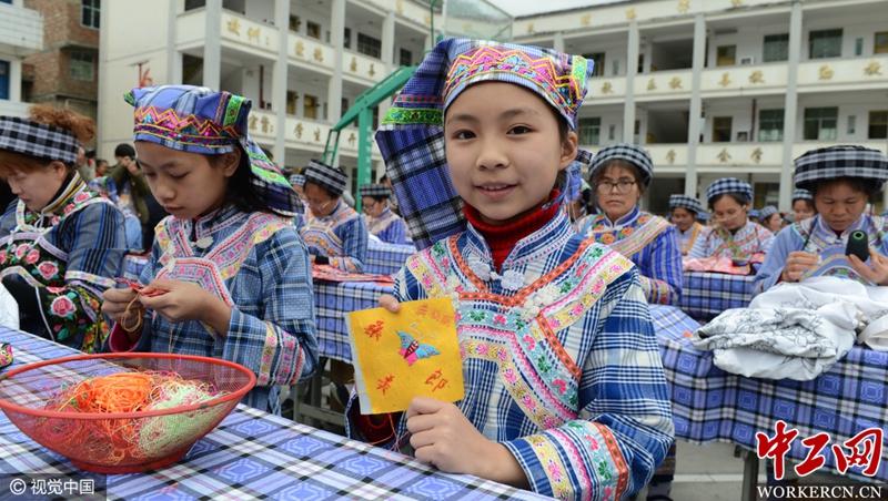 贵州望谟 桑郎镇举行首届 百名绣娘技能大赛 高清组图