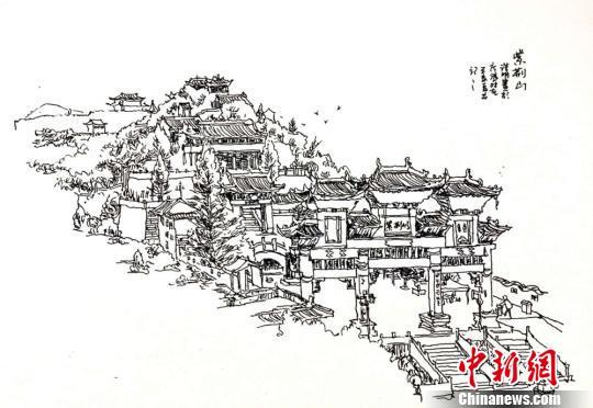 甘肃平凉男子钢笔手绘系列画 展庄浪县变迁史